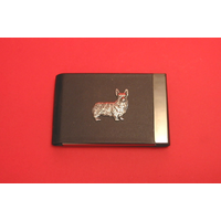 Corgi Dog Pewter Motif on Black Card Holder Dog