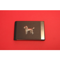Poodle Dog Pewter Motif on Black Card Holder Dog