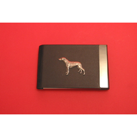 Greyhound Dog Pewter Motif on Black Card Holder Dog