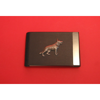 German Shepherd Dog Pewter Motif on Black Card Holder Dog
