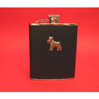 Miniature Schnauzer 6oz Black Leather Hip Flask Dog Gift