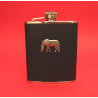 Horse Grazing 6oz Black Leather Hip Flask Pony Gift