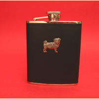 Pug Dog 6oz Black Leather Hip Flask Dog Gift