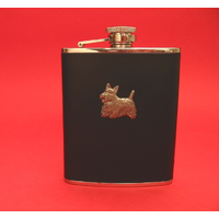 Scottish Terrier 6oz Black Leather Hip Flask Dog GIft
