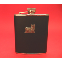 Yorkshire Terrier 6oz Black Leather Hip Flask Dog Gift