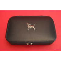 Chihuahua Dog Pewter Motif on Travel Jewellery Box