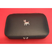 West Highland Terrier Pewter Motif on Travel Jewellery Box