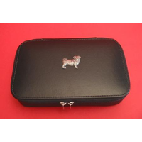 Pug Dog Pewter Motif on Travel Jewellery Box