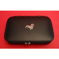 Dachshund Dog Pewter Motif on Travel Jewellery Box