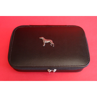 Greyhound Dog Pewter Motif on Travel Jewellery Box