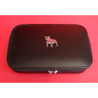 Staffordshire Terrier Dog Pewter Motif on Travel Jewellery Box