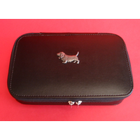 Basset Hound Dog Pewter Motif on Travel Jewellery Box