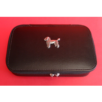 Poodle Dog Pewter Motif on Travel Jewellery Box