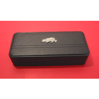 Border Collie Motif on Black Faux Leather Pen Box With 2 Pens