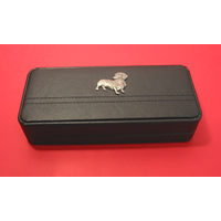 Dachshund Dog Motif on Black Faux Leather Pen Box With 2 Pens