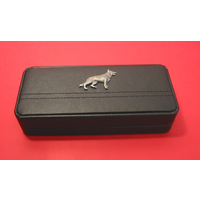 German Shepherd Dog on Black Faux Leather Pen Box With 2 Pens