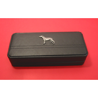 Greyhound Motif on Black Faux Leather Pen Box With 2 Pens