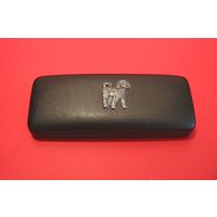 Cockapoo Dog Motif on Black Faux Leather Glasses Case