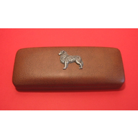 Australian Shepherd Dog Motif on Brown Faux Leather Glasses Case