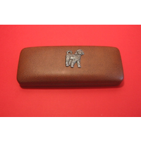 Cockapoo Dog Motif on Brown Faux Leather Glasses Case