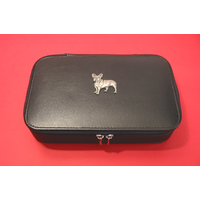 French Bulldog Dog Pewter Motif on Travel Jewellery Box