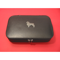 Australian Shepherd Dog Pewter Motif on Travel Jewellery Box