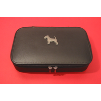 Airedale Terrier Pewter Motif on Travel Jewellery Box