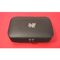 Papillon Dog Pewter Motif on Travel Jewellery Box
