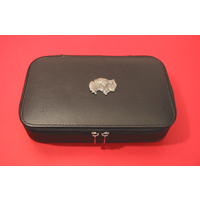 Pomeranian Dog Pewter Motif on Travel Jewellery Box