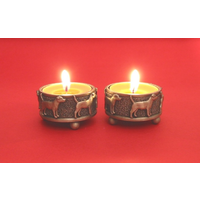 A Pair Of Patterdale Terrier Pewter Tea light Holders Christmas