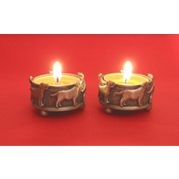 A Pair Of Labrador Retriever Pewter Tea light Holders Christmas