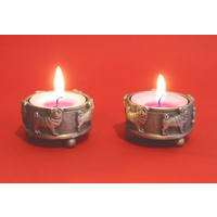 A Pair Of Pug Dog Pewter Tea light Holders Christmas Gift