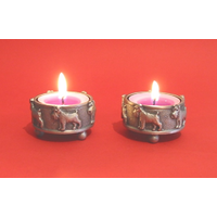 A Pair Of Miniature Schnauzer Tea light Holders Christmas Gift