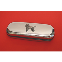 Poodle Dog Motif Chrome Glasses Case Useful Poodle Dog Gift