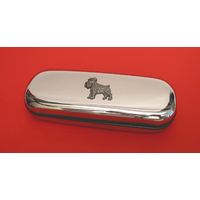 Miniature Schnauzer Motif Chrome Glasses Case Useful Mother Gift
