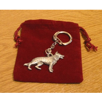 German Shepherd Dog Keyring Pewter Pet Gift