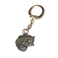 Long Haired Cat Pewter Keyring Pet Gift