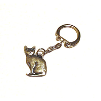 Short Haired Cat Pewter Keyring Pet Gift