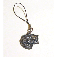 Long Haired Cat Mobile Phone Charm Pewter Pet Gift