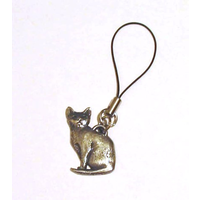 Short Haired Cat Mobile Phone Charm Pewter Pet Gift