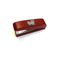 Papillon Dog Motif on Rosewood Stapler Stationary Gift