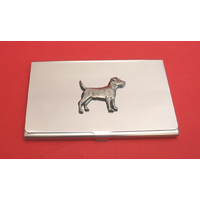 Patterdale Terrier Chrome Plated Business / Credit Card Holder