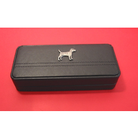Patterdale Terrier on Black Faux Leather Pen Box With 2 Pens