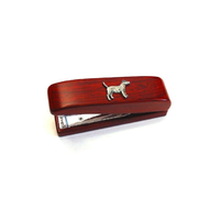 Patterdale Terrier Motif on Rosewood Stapler Stationary Gift