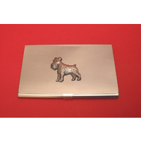 Schnauzer Dog Chrome Plated Business or Credit Card Holder