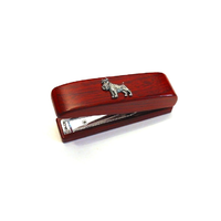 Miniature Schnauzer Motif on Rosewood Stapler Stationary Gift