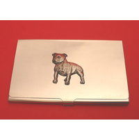 Staffordshire Bull Terrier Chrome Plated Business Card Holder