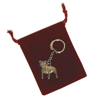 Staffordshire Bull Terrier Key Ring Pewter Dog Gift