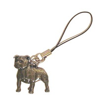 Staffordshire Bull Terrier Dog Mobile Phone Charm Pewter Pet Gif