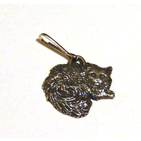 Long Haired Cat Zipper Pull Pewter Pet Gift